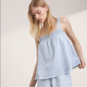 Aritzia Wilfred Free Frayed Denim Smocked Tank